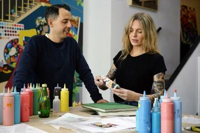 As the official Perrier ARTXTRA partners, wife and husband artist-team DABSMYLA reimagined Perrier's iconic look with a vibrant new design for the brand's new line of limited-edition packaging.
