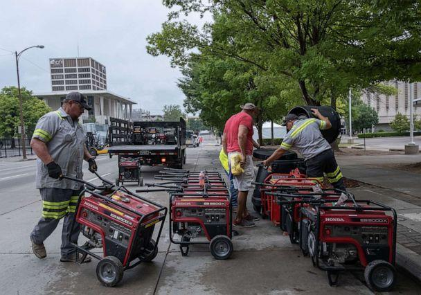 PHOTO: Workers place generators for use during the rally by President Donald Trump, the first campaign rally since the outbreak of the coronavirus pandemic, in Tulsa, on June 19, 2020. (Seth Herald/AFP via Getty Images, FILE)