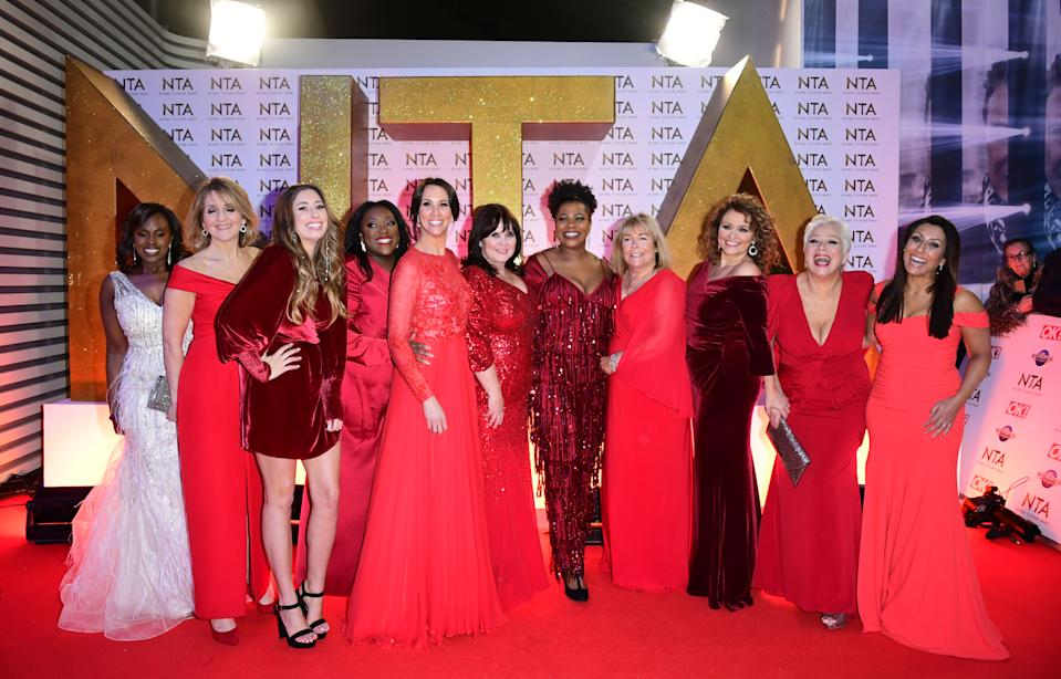Kelle Bryan, Kaye Adams, Stacey Solomon, Judi Love, Andrea McLean, Coleen Nolan, Brenda Edwards, Linda Robson, Nadia Sawalha, Denise Welch and Saira Khan (left to right) during the National Television Awards at London's O2 Arena. (Photo by Ian West/PA Images via Getty Images)
