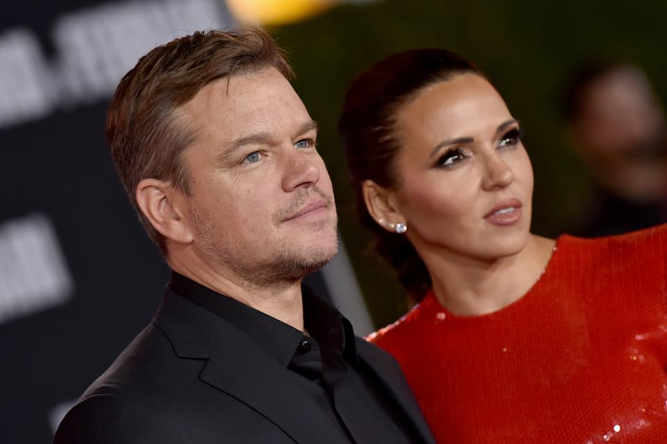 "HOLLYWOOD, CALIFORNIA - NOVEMBER 04: Matt Damon and Luciana Barroso attend the Premiere of FOX's ""Ford v Ferrari"" at TCL Chinese Theatre on November 04, 2019 in Hollywood, California. (Photo by Axelle/Bauer-Griffin/FilmMagic)"