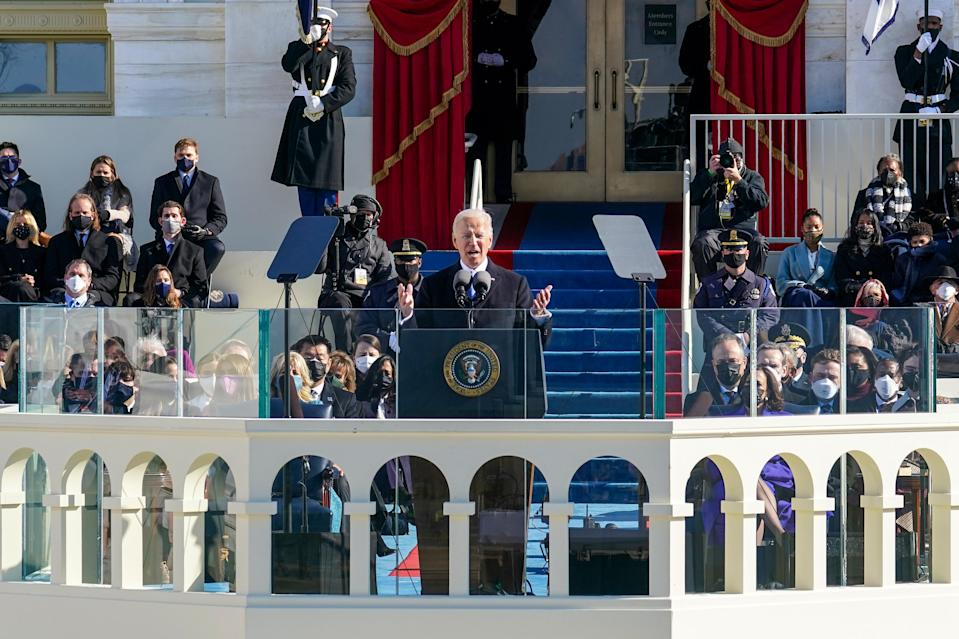 El presidente Joe Biden pronuncia su discurso inaugural en el Capitolio en Washington, el miércoles, 20 de enero de 2021. (Chang W. Lee/The New York).