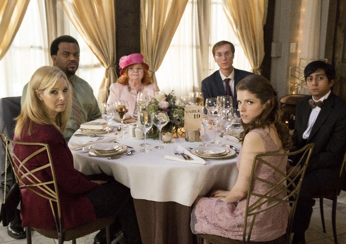 "This image released by Fox Searchlight Pictures shows, from left, Lisa Kudrow, Craig Robinson, June Squibb, Stephen Merchant, Anna Kendrick and Tony Revolori in a scene from the film, ""Table 19."" (Jace Downs/Fox Searchlight via AP)"
