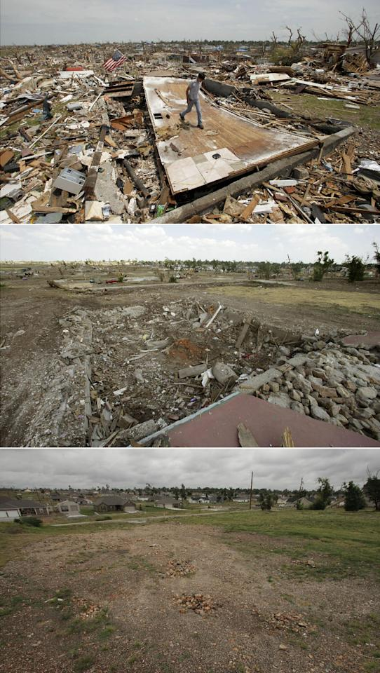 This three-photo combo shows a scene taken on May 28, 2011, top, July 21, 2011, center, and May 7, 2012, bottom, showing progress made in Joplin, Mo. in the year after an EF-5 tornado destroyed a large swath of the city and killed 161 people. In the top photo, Patrick O'Banion salvages items from his devastated home in a neighborhood now mostly cleared of debris. (AP Photo/Charlie Riedel)
