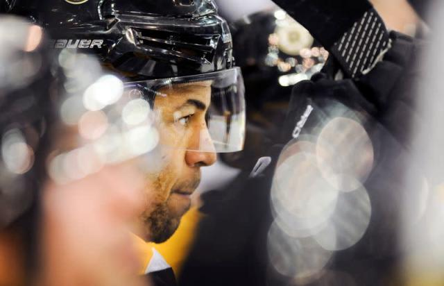 FILE PHOTO: Boston Bruins forward Jarome Iginla looks on during the second period of their NHL hockey game against the Winnipeg Jets in Saskatoon