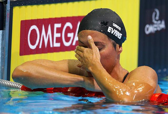 OMAHA, NE - JUNE 26: Janet Evans reacts after she competed in preliminary heat 6 of the Women's 400 m Freestyle during Day Two of the 2012 U.S. Olympic Swimming Team Trials at CenturyLink Center on June 26, 2012 in Omaha, Nebraska. (Photo by Al Bello/Getty Images)