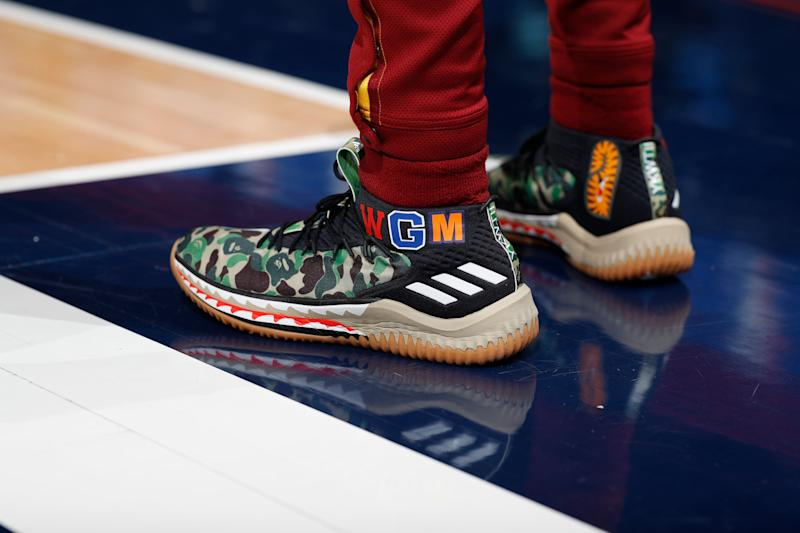 Cleveland Cavaliers guard Alec Burks (10) wears Adidas shoes in the first half of an NBA basketball game Saturday, Jan. 19, 2019, in Denver. (AP Photo/David Zalubowski)