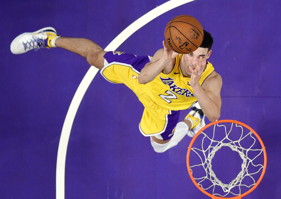 Los Angeles Lakers guard Lonzo Ball can't seem to get much right these days. (AP Photo/Mark J. Terrill)