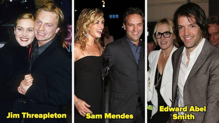 Kate Winslet with two-former husbands and her current husband