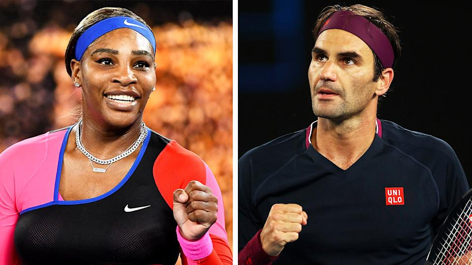 Serena Williams (pictured left) celebrating an Australian Open win and Roger Federer (pictured right) celebrating a point.