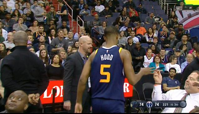 Rodney Hood hopes you bought the insurance, my dude. (Screencap via NBA)