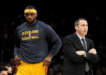LeBron James and David Blatt have a heart-to-heart.