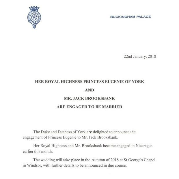 Princess Eugenie and Jack Brooksbank wedding engagement announcement in Buckingham Palace letter