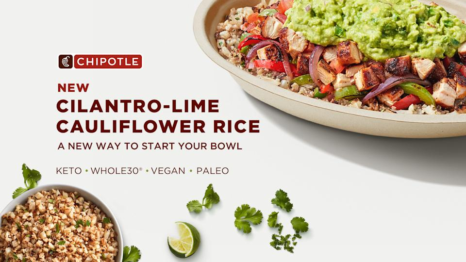 Chipotle's new Cilantro-Lime Cauliflower Rice available nationwide for a limited time (Courtesy: Chipotle)