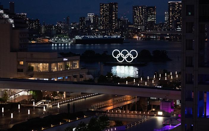The Olympic Rings are displayed by the Odaiba Marine Park Olympic venue - Getty Images