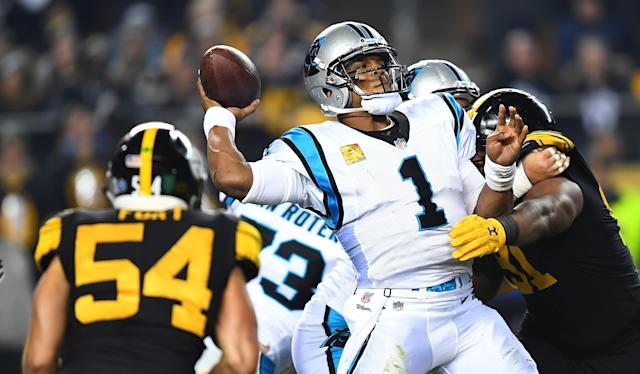 Cam Newton was shocked as the rest of us to see T.J. Watt go unblocked and made a terrible decision against the Steelers. (Getty)