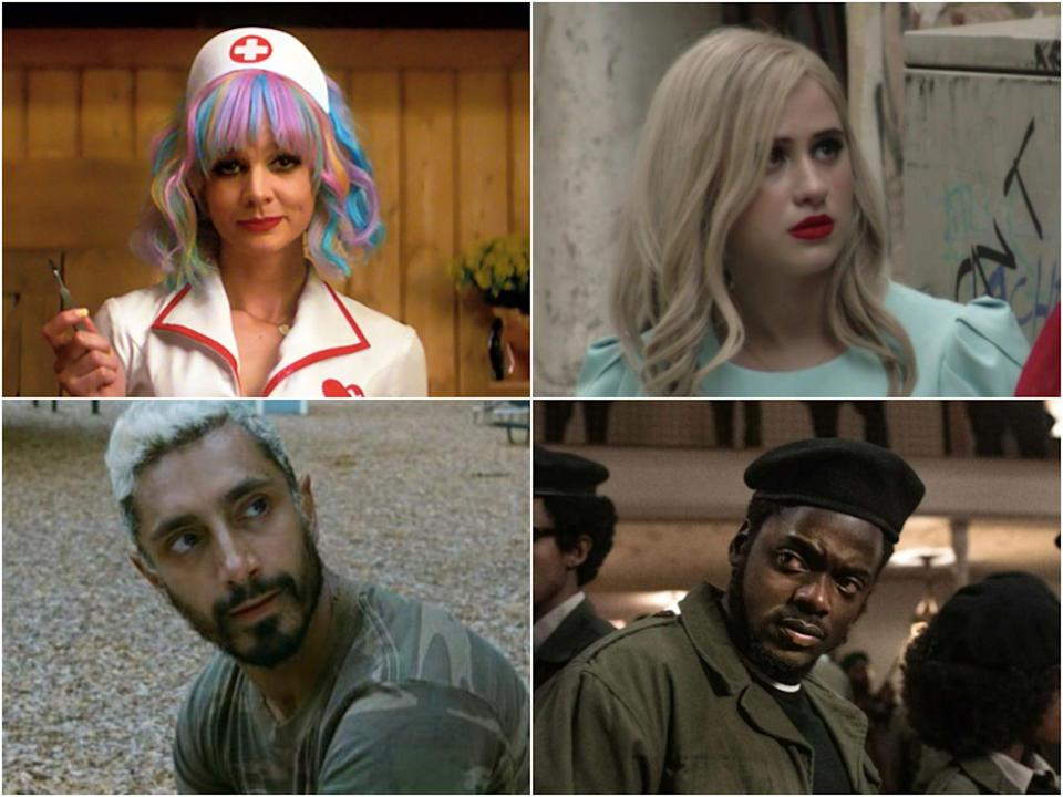 <p>Eyes on the prize: (clockwise, from top left) 'Promising Young Woman', 'Borat Subsequent Moviefilm', 'Judas and the Black Messiah' and 'Sound of Metal' are all in the running for Oscars</p> (Focus Features/Amazon Studios/Warner Bros Pictures)