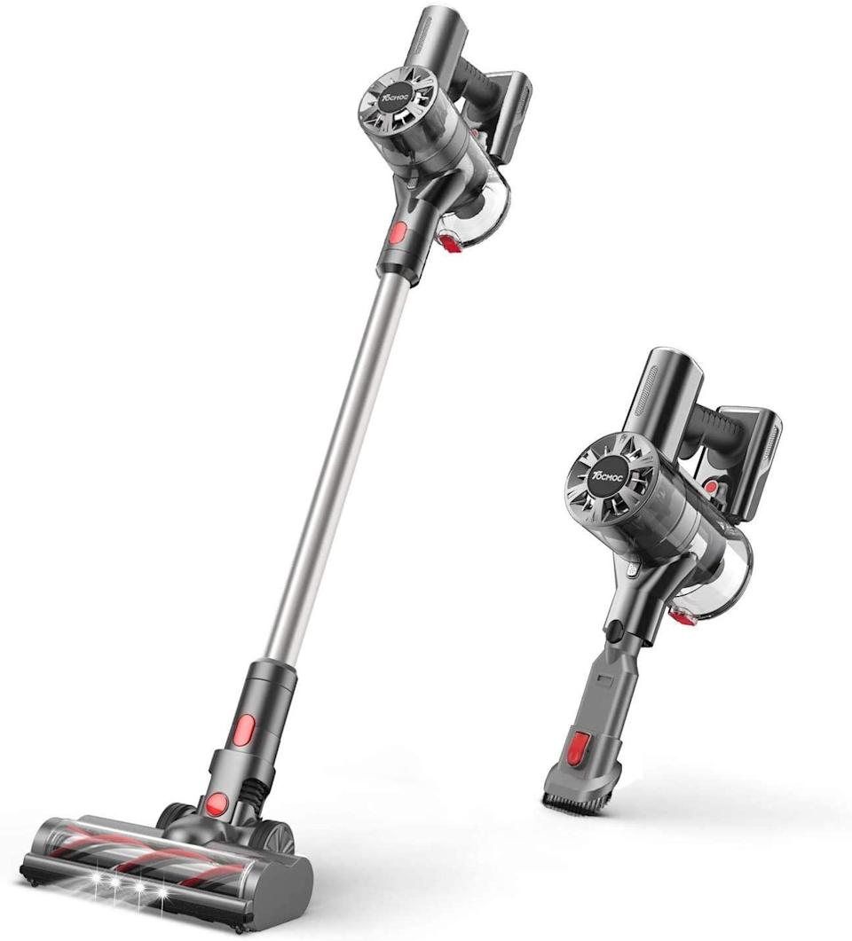 """<br><br><strong>Tocmoc</strong> Stick Vacuum Cleaner with 200W 22Kpa Super Suction, $, available at <a href=""""https://amzn.to/2H5FNIw"""" rel=""""nofollow noopener"""" target=""""_blank"""" data-ylk=""""slk:Amazon"""" class=""""link rapid-noclick-resp"""">Amazon</a>"""