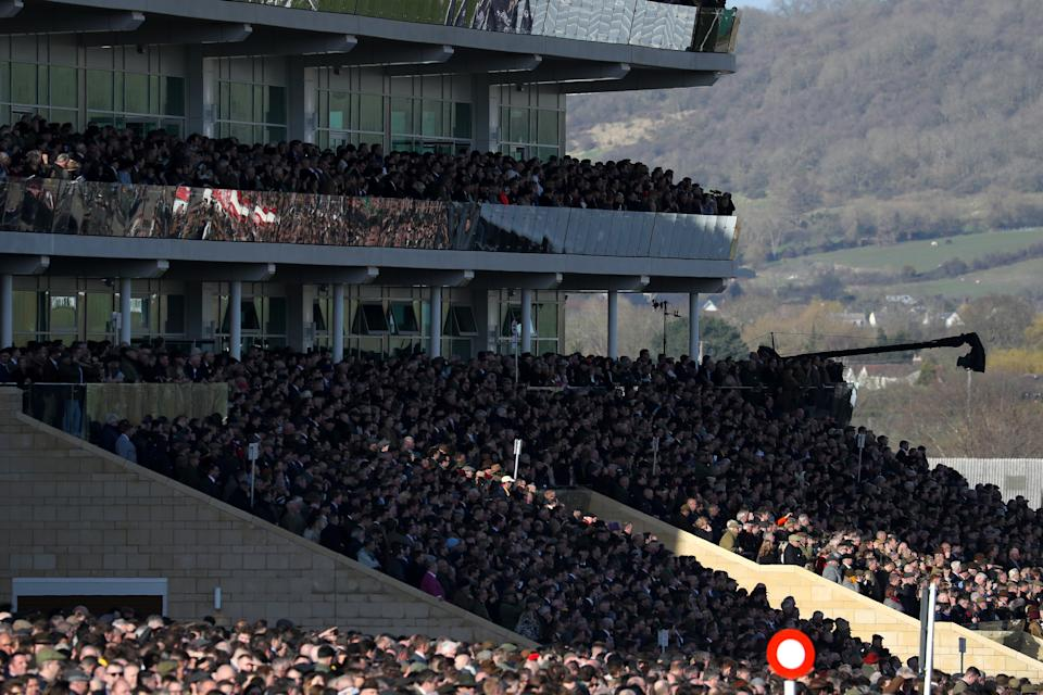 Crowds in the grandstand during day four of the Cheltenham Festival at Cheltenham Racecourse. (Photo by Andrew Matthews/PA Images via Getty Images)