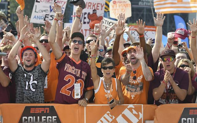 Fans at College GameDay at Bristol Motor Speedway (Getty).