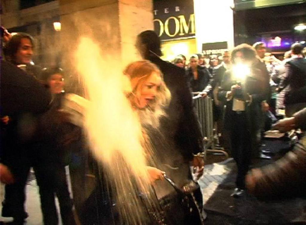 """These days, Lindsay Lohan has bigger things to worry about (like, for instance, staying out of jail), but back in 2008 the """"Mean Girls"""" star was appalled when she was the victim of a flour bomb outside a Paris nightclub. Animal rights group PETA was responsible for the toss, meant to draw attention to the fact Lohan was draped in a dead animal -- in this case, a fur stole. (11/15/2008)"""