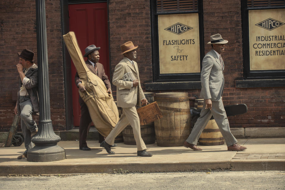 "This image released by Netflix shows Michael Potts, from left, Glynn Turman and Colman Domingo in ""Ma Rainey's Black Bottom."" (David Lee/Netflix via AP)"