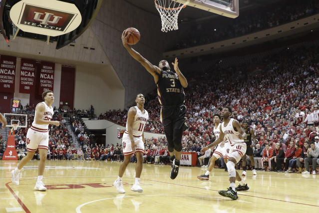 Florida State's Trent Forrest (3) shoots during the second half of the team's NCAA college basketball game against Indiana, Tuesday, Dec. 3, 2019, in Bloomington, Ind. Indiana won 80-64. (AP Photo/Darron Cummings)