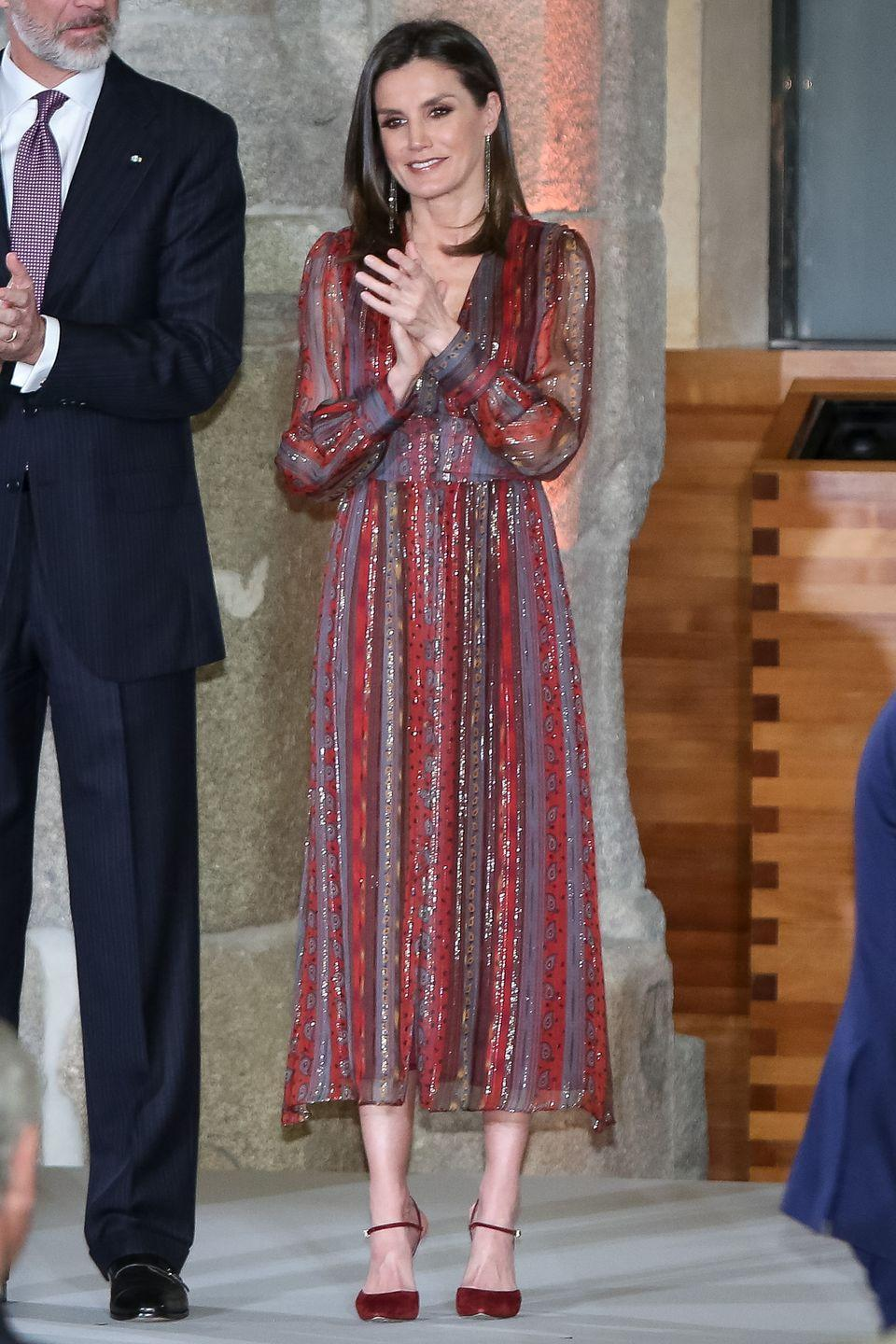 <p>At Madrid's National Culture Awards, the Queen chose a sparkling, bohemian dress with matching burgundy shoes. </p>