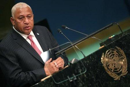 Prime Minister Frank Bainimarama of Fiji speaks at the conclusion of a