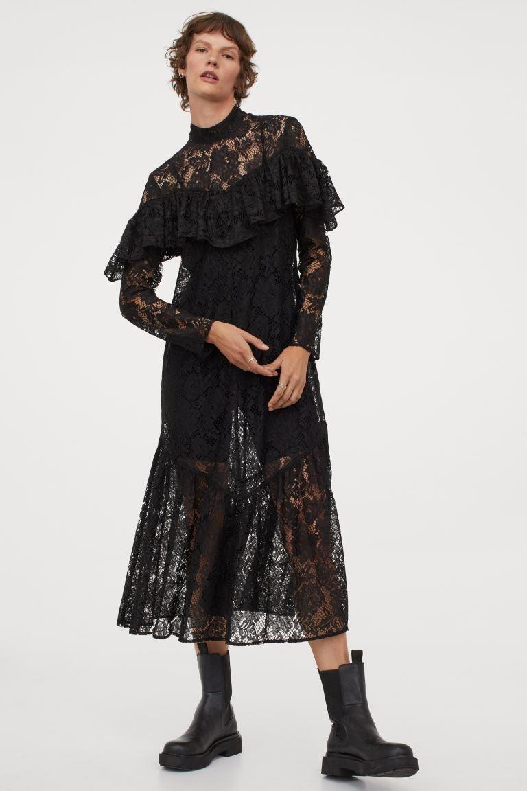 """<h2>H&M</h2><br>H&M peddles every trend under the sun, and we love the Swedish fast-fashion retailer for it. Whether it's a prairie frock or a utility-chic shirtdress, you'll probably find it there. When we hit the site, however, we make a beeline for the <a href=""""https://www2.hm.com/en_us/women/concepts/conscious-sustainable-style.html"""" rel=""""nofollow noopener"""" target=""""_blank"""" data-ylk=""""slk:Conscious"""" class=""""link rapid-noclick-resp"""">Conscious</a> section — we know we'll find the of-the-moment styles we've been looking for, made with a little more consideration for the environment. Our fall pick from H&M is this witchy lace frock made from recycled polyester.<br><br><strong>H&M</strong> Ruffled Lace Dress, $, available at"""