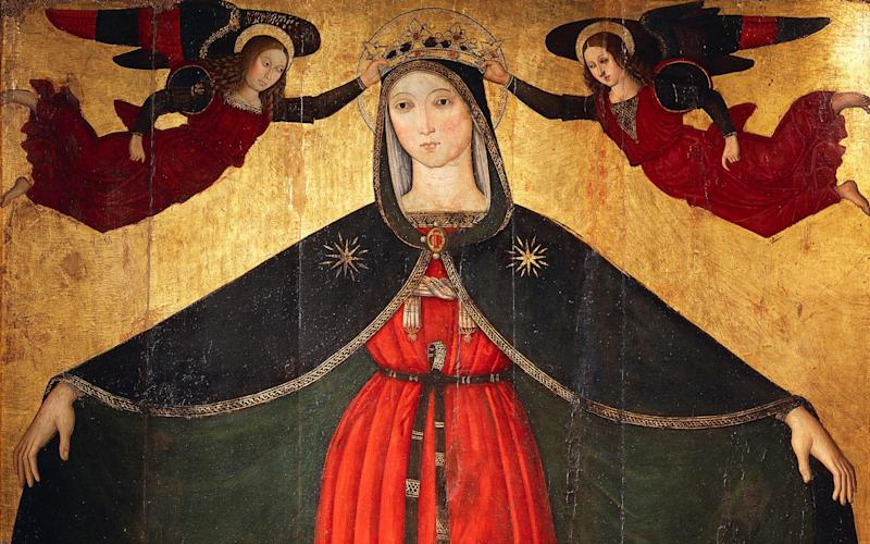 The Virgin Mary holds open her protecting cloak on a panel from 1500 at Orte in Italy - www.bridgemanimages.com