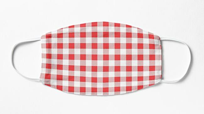 red gingham face mask covering