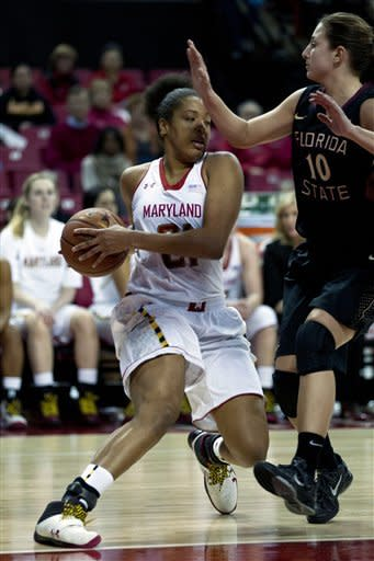 Marylands Tianna Hawkins (21) moves the ball against Florida State's Leonor Rodriguez during the second half of an NCAA college basketball game at the Comcast Center in College Park, Md., Sunday Jan. 6, 2013. (AP Photo/Jose Luis Magana)