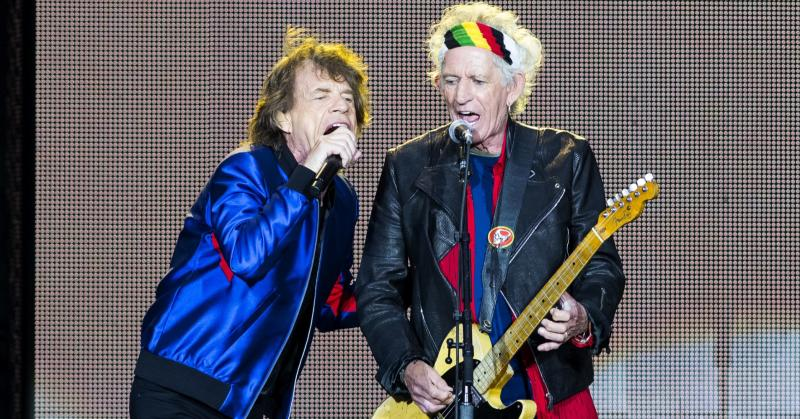 Mick Jagger and Keith Richards of the Rolling Stones perform live on stage.