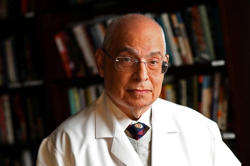 FILE PHOTO: Dr. Egilman poses for a portrait at his office in Attleboro