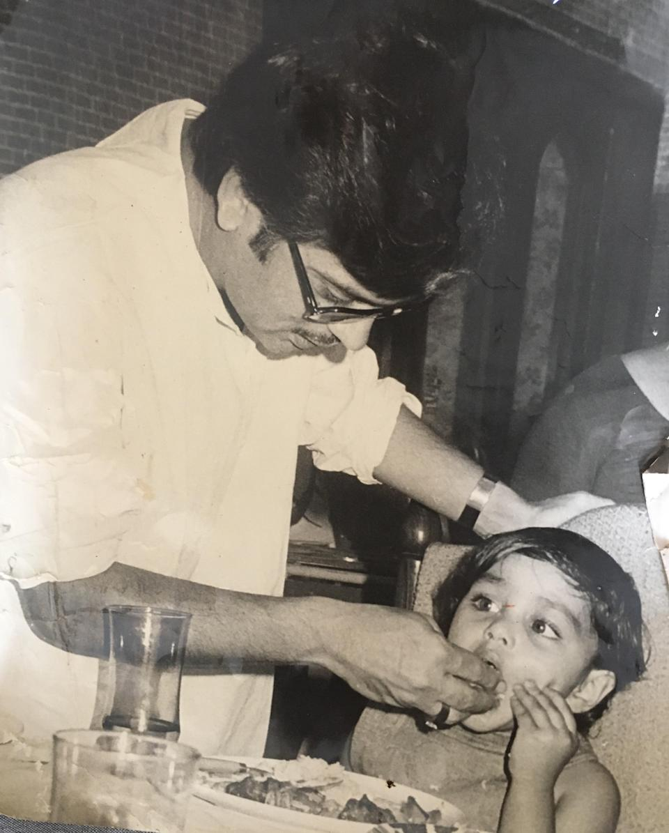Gulzar with a young Meghna.