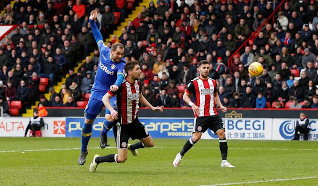 "Soccer Football - Championship - Sheffield United vs Leeds United - Bramall Lane, Sheffield, Britain - February 10, 2018 Leeds United's Pierre-Michel Lasogga shoots at goal Action Images/Craig Brough EDITORIAL USE ONLY. No use with unauthorized audio, video, data, fixture lists, club/league logos or ""live"" services. Online in-match use limited to 75 images, no video emulation. No use in betting, games or single club/league/player publications. Please contact your account representative for further details."