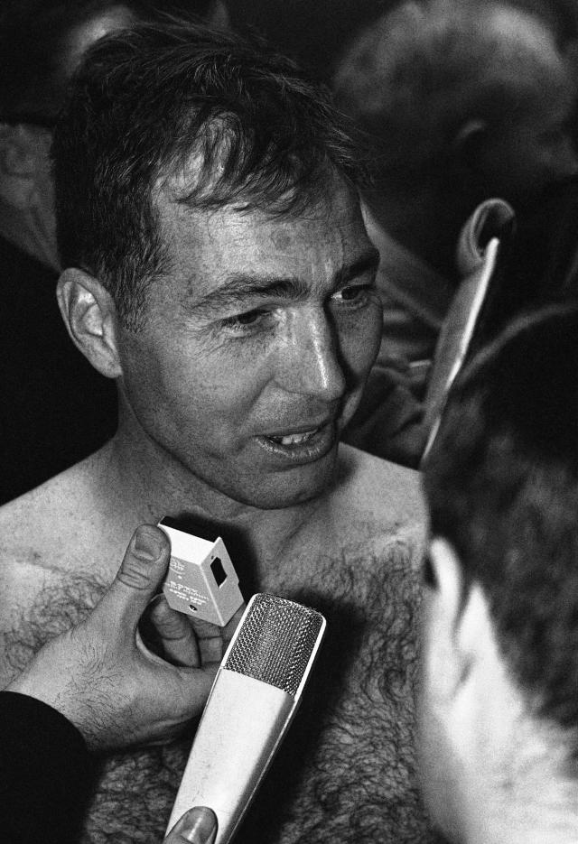 FILE - In this Jan. 15, 1967, file photo, Green Bay Packers quarterback Bart Starr, who guided his team to a win over the Kansas City Chiefs in football's first Super Bowl game, is interviewed in the dressing room in Los Angeles. Green Bays proven old pros carried the National Football League to a 35-10 victory over the Chiefs of the American Football League in the first Super Bowl under the brilliant direction of Starr. (AP Photo/File)