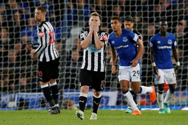 "Soccer Football - Premier League - Everton v Newcastle United - Goodison Park, Liverpool, Britain - April 23, 2018 Newcastle United's Matt Ritchie reacts REUTERS/Andrew Yates EDITORIAL USE ONLY. No use with unauthorized audio, video, data, fixture lists, club/league logos or ""live"" services. Online in-match use limited to 75 images, no video emulation. No use in betting, games or single club/league/player publications. Please contact your account representative for further details."