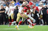 MIAMI, FLORIDA - FEBRUARY 02: Travis Kelce #87 of the Kansas City Chiefs runs with the ball after a reception against the San Francisco 49ers during the second quarter in Super Bowl LIV at Hard Rock Stadium on February 02, 2020 in Miami, Florida. (Photo by Jamie Squire/Getty Images)