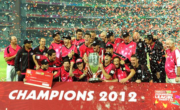 The Sydney Sixers celebrate after winning the Karbonn Smart CLT20 Final match between bizhub Highveld Lions and Sydney Sixers at Bidvest Wanderers Stadium on October 28, 2012 in Johannesburg, South Africa. (Photo by Duif du Toit/Gallo Images/Getty Images)