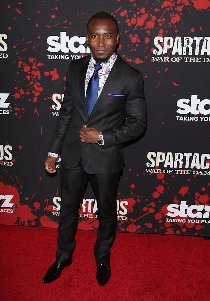 "Blessing Mokgohloa attends the premiere of Starz's ""Spartacus: War of the Damned"" at Regal Cinemas L.A. Live on January 22, 2013 in Los Angeles, California."