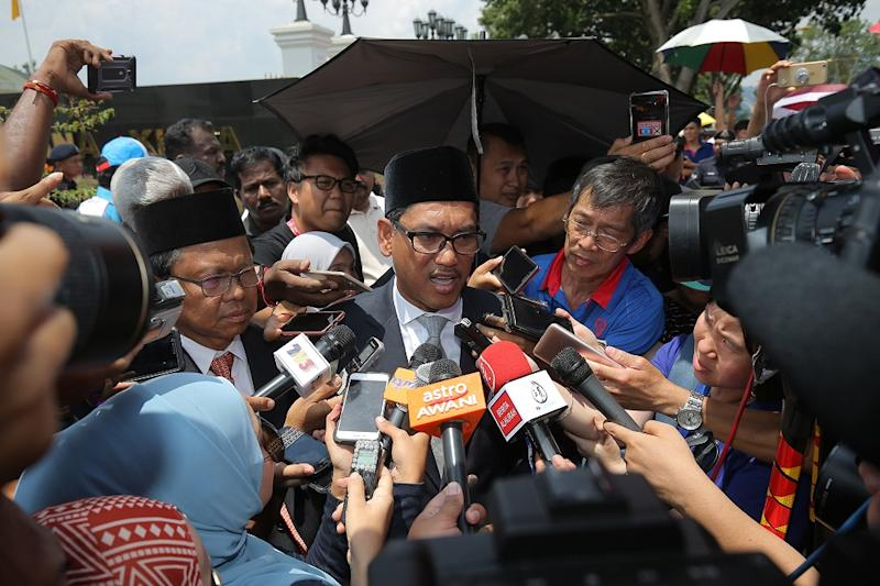 Perak Pakatan Harapan chairman Ahmad Faizal Azum speaks to the press outside the Istana Kinta in Ipoh May 12, 2018. — Picture by Marcus Pheong