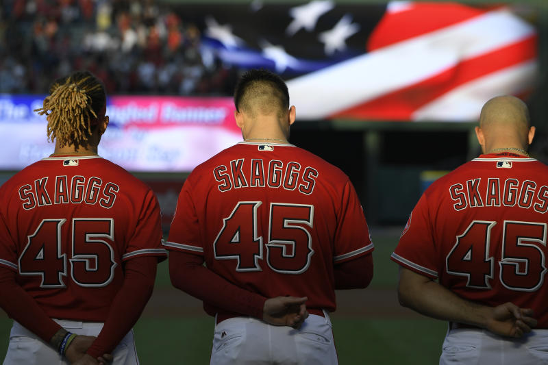 Tyler Skaggs has been honored by baseball, and now his image is on a mural by his old high school baseball field. (Photo by John McCoy/Getty Images)