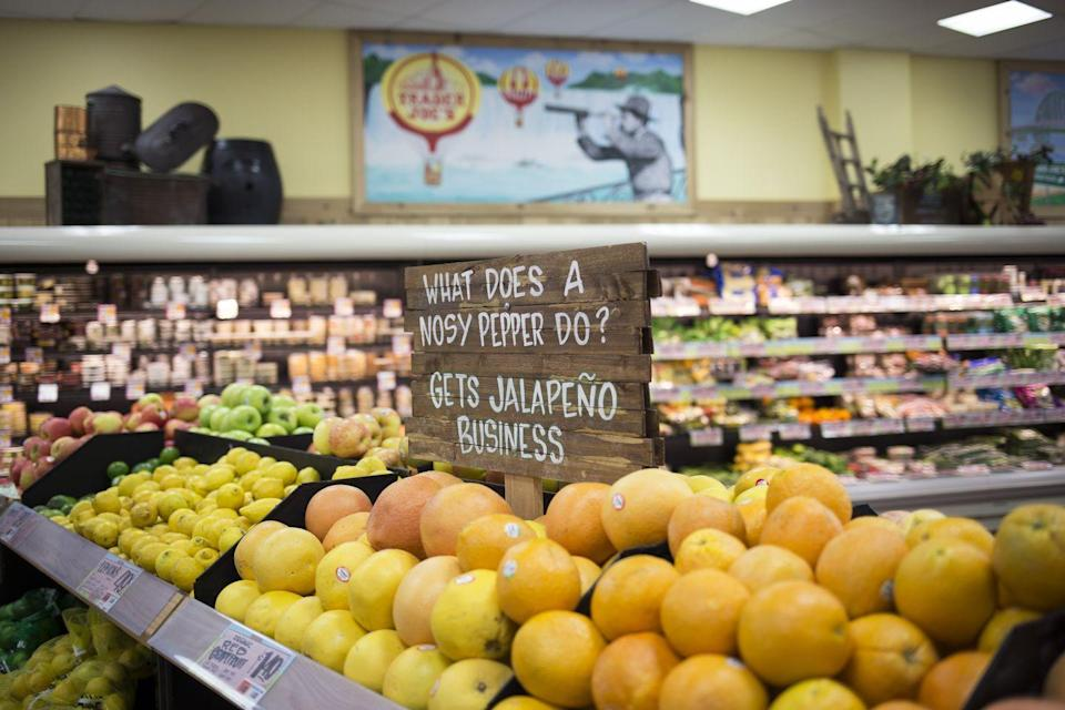 """<p>Each store has its own staff creating signs so you might get funny dad jokes or cool art. And during the midst of the coronavirus pandemic, one deaf staff member and his store location found creative ways to communicate with customers who were wearing masks that <a href=""""https://www.womansday.com/life/a32497471/trader-joes-employee-deaf-communicating-with-face-masks/"""" rel=""""nofollow noopener"""" target=""""_blank"""" data-ylk=""""slk:he could read lips and sign"""" class=""""link rapid-noclick-resp"""">he could read lips and sign</a>. </p>"""