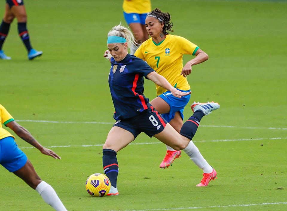 Midfielder Julie Ertz (8) plays in a USWNT game against Brazil during the She Believes Cup on Feb 21, 2021.