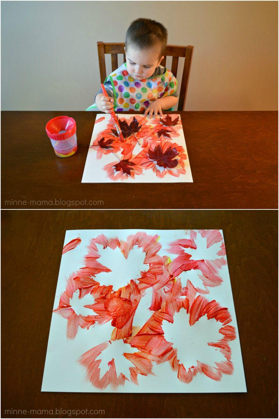 """<p>Paint around leaves to create negative space when you peel them away. Plus, it's an excuse to get your kids out of the house to fetch supplies. </p><p><em><a href=""""http://minne-mama.blogspot.com/2014/10/fall-leaf-painting.html?m=1"""" rel=""""nofollow noopener"""" target=""""_blank"""" data-ylk=""""slk:Get the tutorial at Minne Mama »"""" class=""""link rapid-noclick-resp"""">Get the tutorial at Minne Mama »</a></em> </p>"""