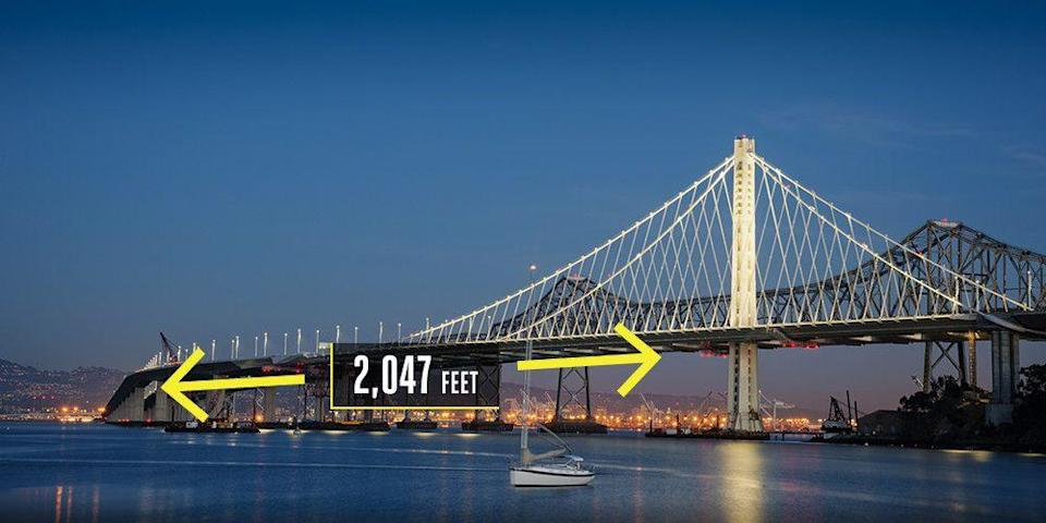 "<p><strong>Oakland, California</strong></p><p>The San Francisco Bay Area is lucky enough to have two internationally renowned bridges. The new <a href=""https://www.popularmechanics.com/technology/infrastructure/a9396/how-they-built-the-record-setting-new-bay-bridge-span-15859172/"" rel=""nofollow noopener"" target=""_blank"" data-ylk=""slk:Bay Bridge East Span"" class=""link rapid-noclick-resp"">Bay Bridge East Span</a>, a $6.4 billion project, replaced a seismically unstable bridge. It has the world's largest self-anchored suspension span, a 2,047-foot span anchored by a single 525-foot-tall tower that holds a single mile-long main cable containing 17,399 steel wire strands. Phew.</p>"