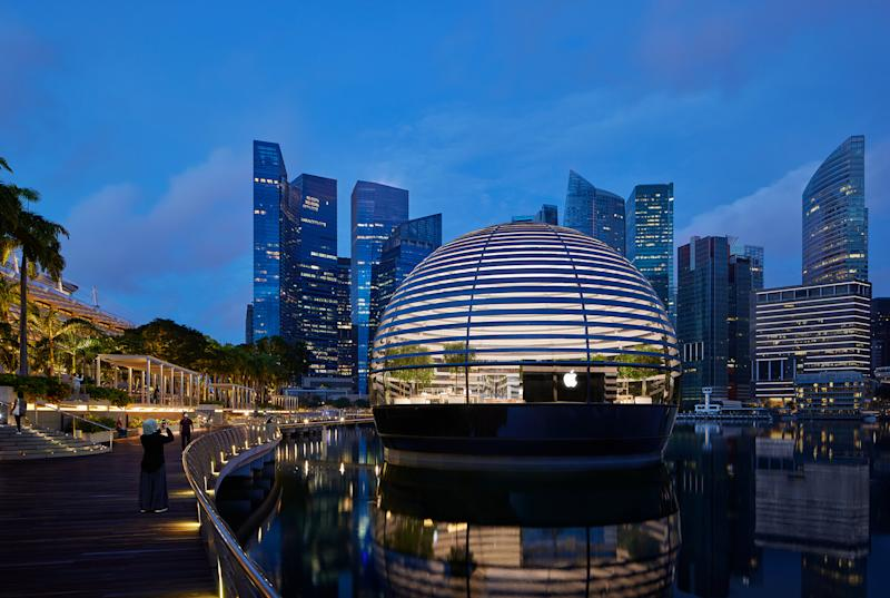 Appearing as a floating sphere, Apple Marina Bay Sands is the first Apple store to sit directly on the water. (PHOTO: Apple)