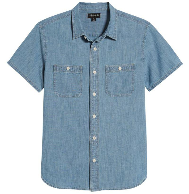"""<p><strong>MADEWELL</strong></p><p>nordstrom.com</p><p><strong>$34.75</strong></p><p><a href=""""https://go.redirectingat.com?id=74968X1596630&url=https%3A%2F%2Fshop.nordstrom.com%2Fs%2Fmadewell-slim-fit-chambray-sport-shirt%2F5254041&sref=http%3A%2F%2Fwww.esquire.com%2Fstyle%2Fmens-fashion%2Fg12274960%2Fbest-denim-shirts-men%2F"""" target=""""_blank"""">SHOP</a></p><p>Chambray shirts are great for transitional weather; you can layer them over a tee, or rock them alone.</p>"""
