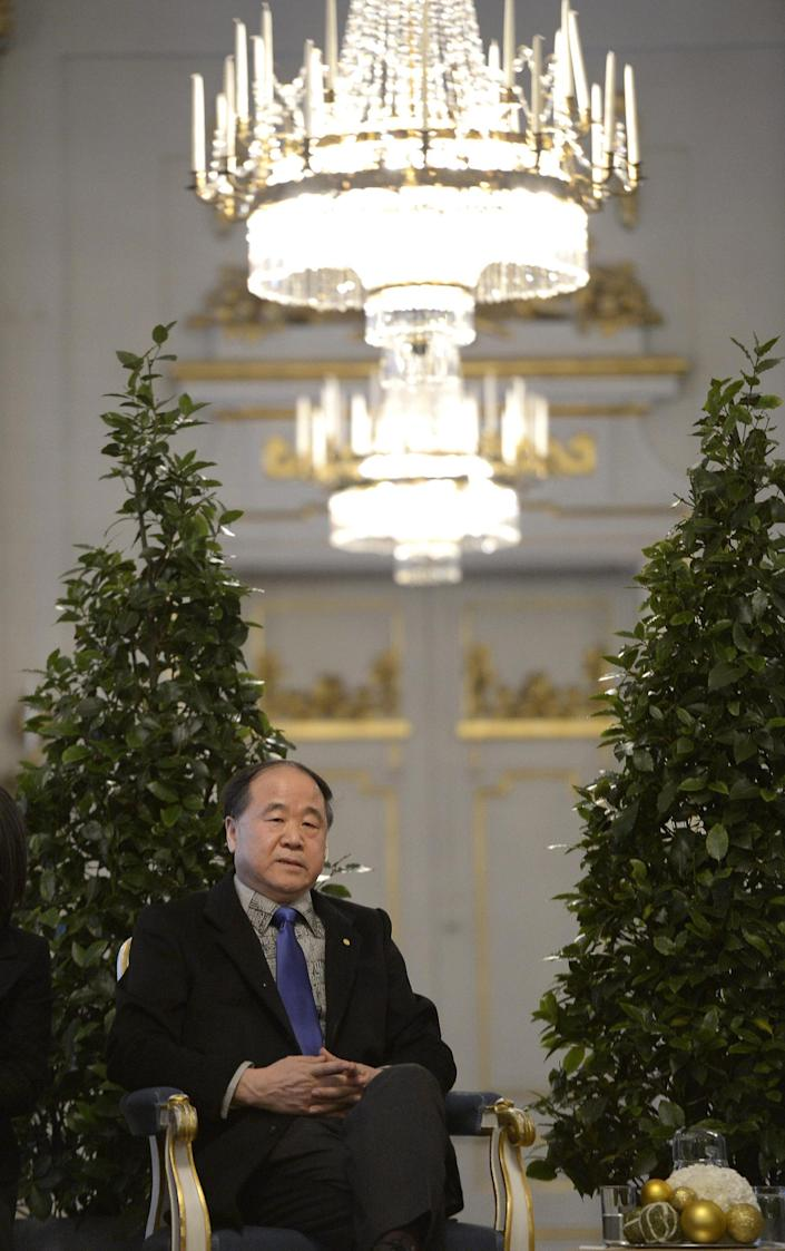 The 2012 Nobel Literature Prize laureate, Mo Yan of China speaks during a press conference Thursday Dec. 6, 2012 at the Royal Swedish Academy in Stockholm. The official prize giving ceremony takes place in Stockholm on Dec. 10. (AP Photo/Janerik Henriksson) SWEDEN OUT
